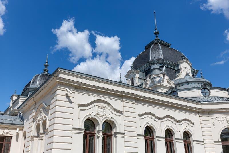 Facade Varosligeti-byggnaden nära Budapest isrink arkivfoto