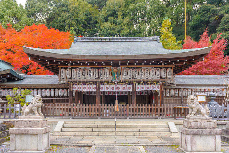 Facade view of Kumano Nyakuoji Shrine. It is one of three Kumano shrines in Kyoto and located in the South end of Path of Philosophy royalty free stock image