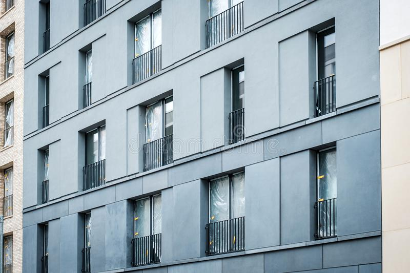 Facade view of new residential building , vacant flats almost finished.  royalty free stock photography