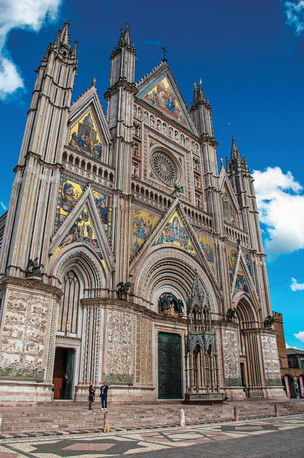 Facade view of the opulent and monumental Orvieto Cathedral in Orvieto. Orvieto, Italy - May 17, 2013. Facade view of the opulent and monumental Orvieto stock photo