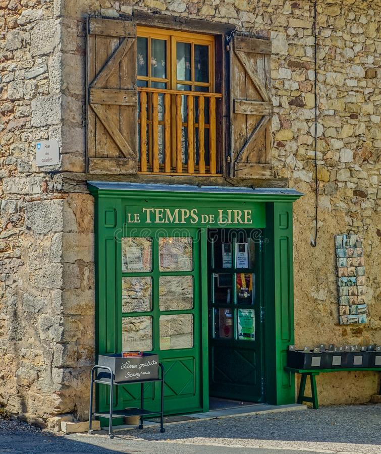 Facade of a village bookstore royalty free stock images