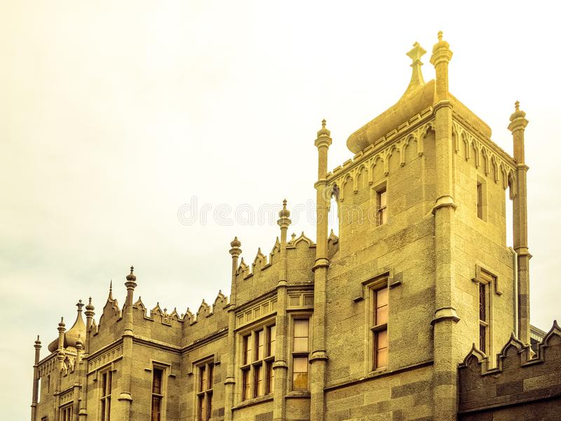 Facade of Vorontsov palace in Crimea, closeup. Facade of Vorontsov palace in Crimea, closeup stock images