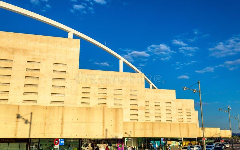 Facade of Zaragoza-Delicias railway station in Spain royalty free stock image