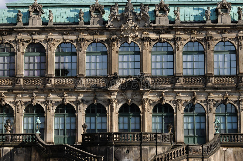 Facade of zwinger, dresden. Inner facade of a famous baroque palace and museum in dresden, the building has been rebuilt after second world war damages royalty free stock image