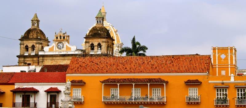 Facades of Cartagena de Indias, Colombia stock photography