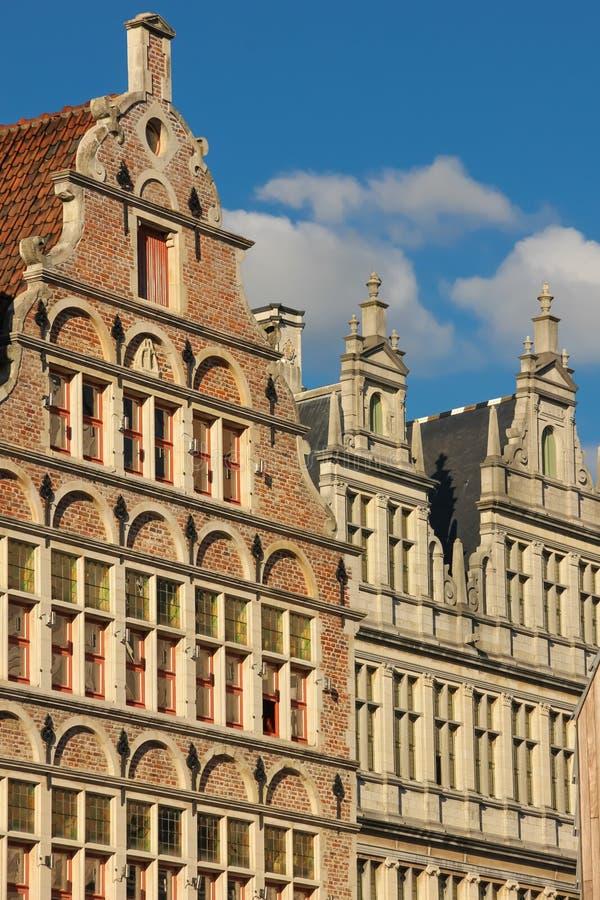 facades gent belgië stock afbeelding