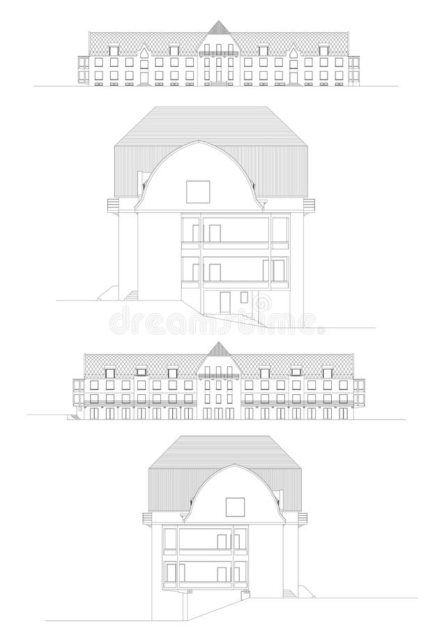 Facades of an hotel made in CAD royalty free stock images
