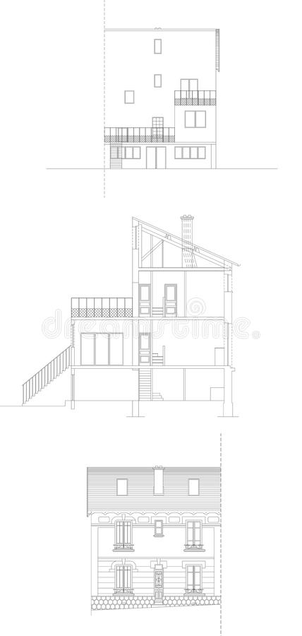 Facades of a house made in CAD stock photography
