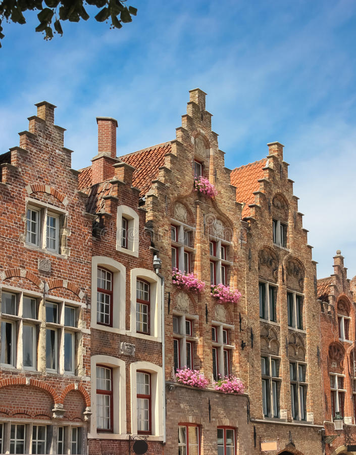 Facades. Jan Van Eyck Square. Bruges. Belgium. Picturesque builings in Jan Van Eyck Square. Bruges. Belgium stock photo