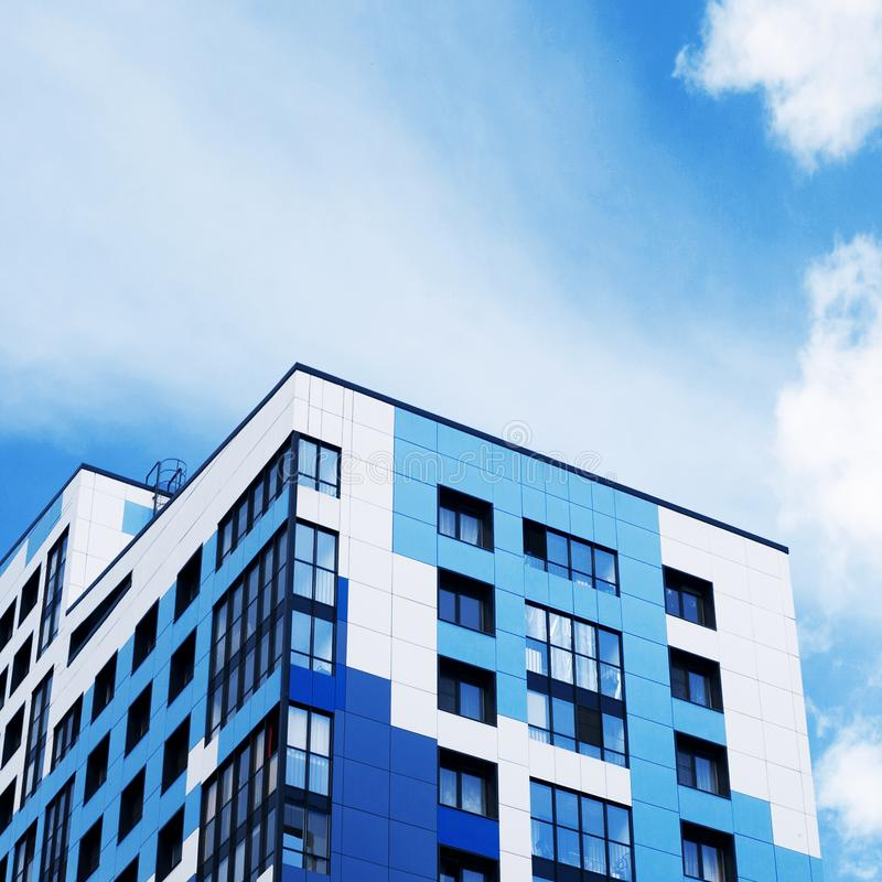 Facades of new buildings, construction of apartment buildings, residential real estate in the big city. Development royalty free stock images