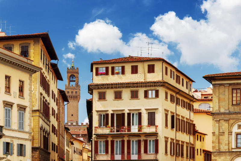 Facades of old houses on the Piazza Santa Croce, Florence, Italy royalty free stock photography