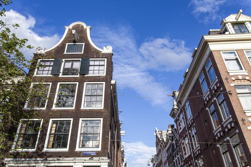 Facades of the old 17th century houses along the Prinsengracht canal in Amsterdam - Holland. The Netherlands stock photos