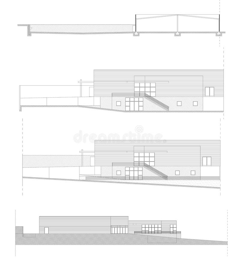 Facades of an shopping center in CAD stock images