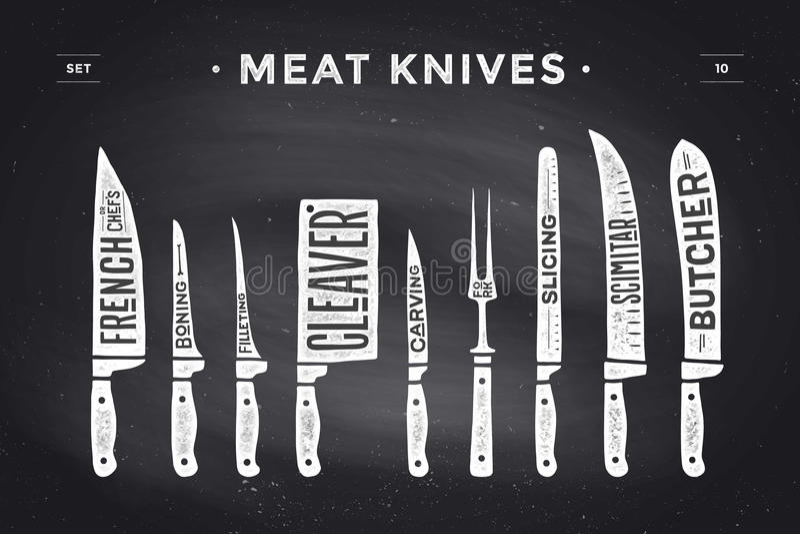 Facas de corte da carne ajustadas Diagrama e esquema do carniceiro do cartaz ilustração stock