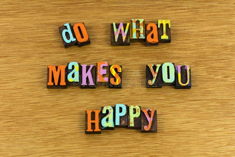 Faccia che cosa vi rende felice fotografia stock libera da diritti