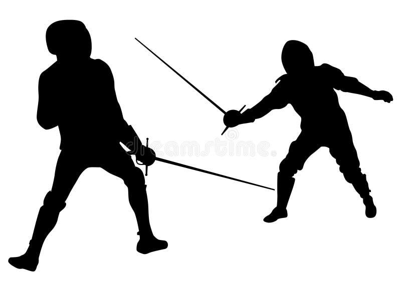 Faccia concorrenza nella recinzione dei due illustrazione vettoriale