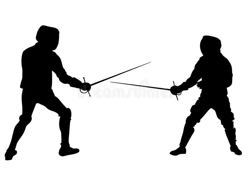 Faccia concorrenza nella recinzione dell'uno illustrazione vettoriale