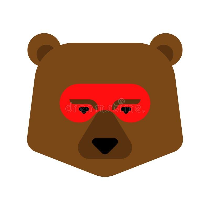 Faccia del supereroe dell'orso Super bestia in maschera Forte testa Grizzly illustrazione vettoriale