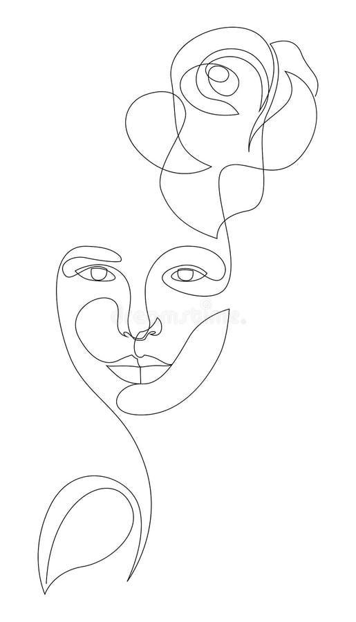 Faccia di donna con fiore di rosa e foglia in stile linea Disegno di linea continuo singolo Cosmetici per la natura Icona di vent illustrazione di stock