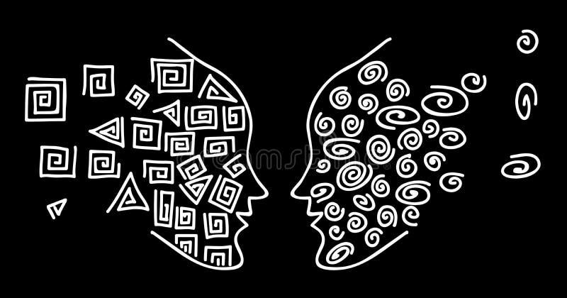 Faccia a faccia Disegno della linea bianca per affrontare la siluetta di una testa umana su un fondo nero royalty illustrazione gratis