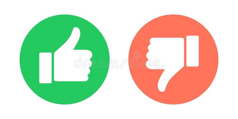 Faccia e faccia non i simboli Pollici su e pollici giù gli emblemi del cerchio Come e di avversione icone messe Illustrazione di  illustrazione vettoriale
