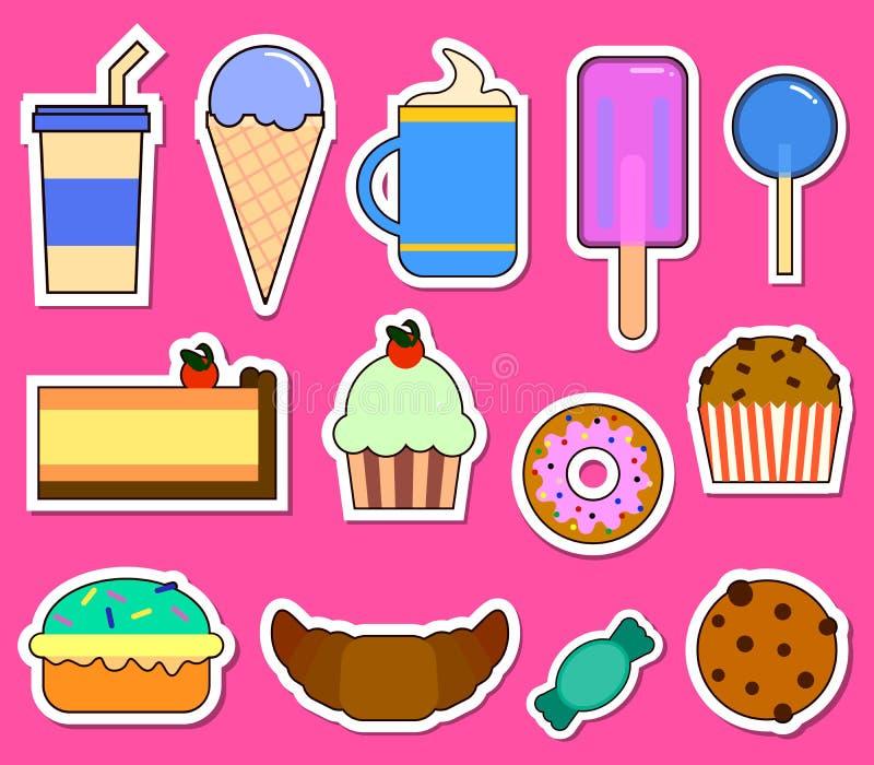 Faccia festa il grande insieme con differenti dolci - agglutini, gelato, le guarnizioni di gomma piuma, i bigné, la barra di cioc royalty illustrazione gratis