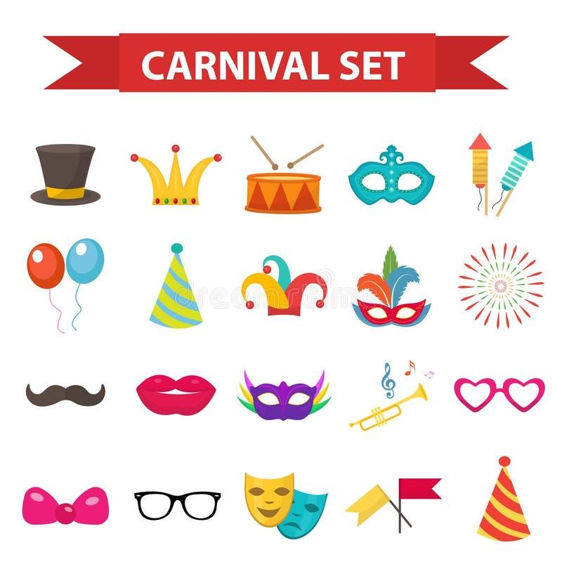 Faccia festa le icone, l'elemento di progettazione, stile piano Accessori di carnevale, puntelli, isolati illustrazione vettoriale