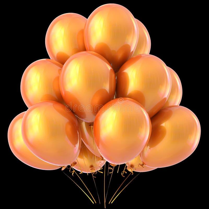 Faccia festa lucido giallo caldo della decorazione arancio di buon compleanno dei palloni illustrazione vettoriale