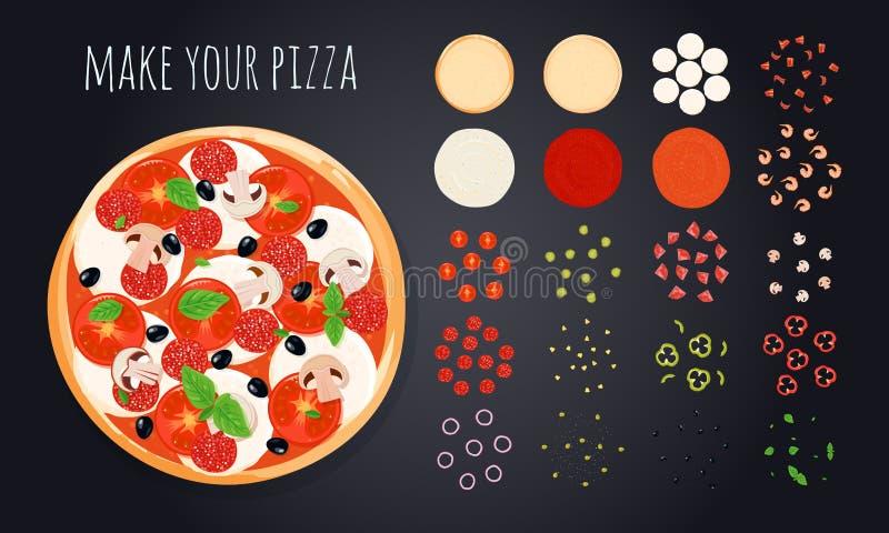 Faccia gli ingredienti della pizza messi illustrazione di stock