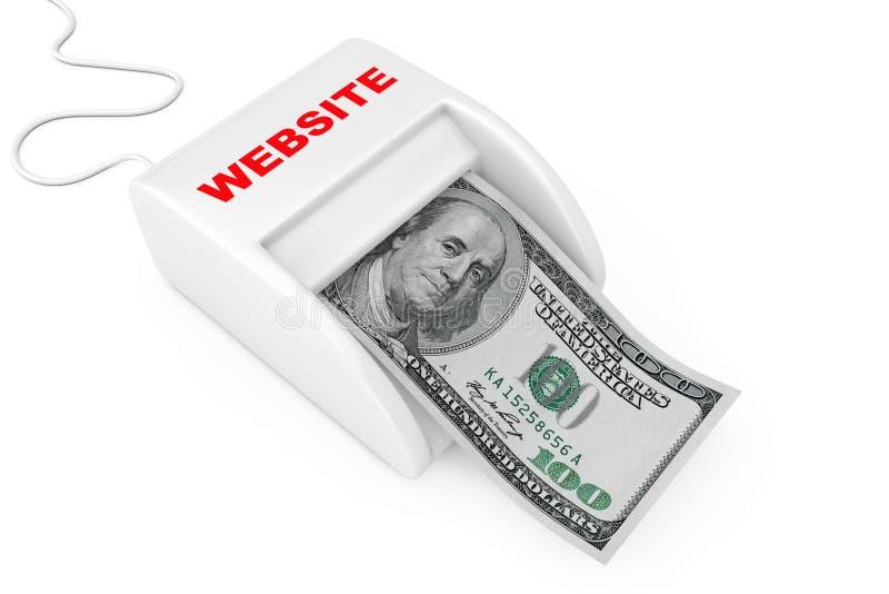 Faccia i soldi con il concetto del sito Web Macchina del sito Web del creatore di soldi con la banconota dei dollari rappresentaz royalty illustrazione gratis