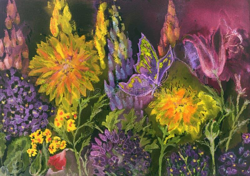 Faccia il giardinaggio alla notte con il tagete, il macrophylla dell'ortensia, il lupino ed i papaveri royalty illustrazione gratis