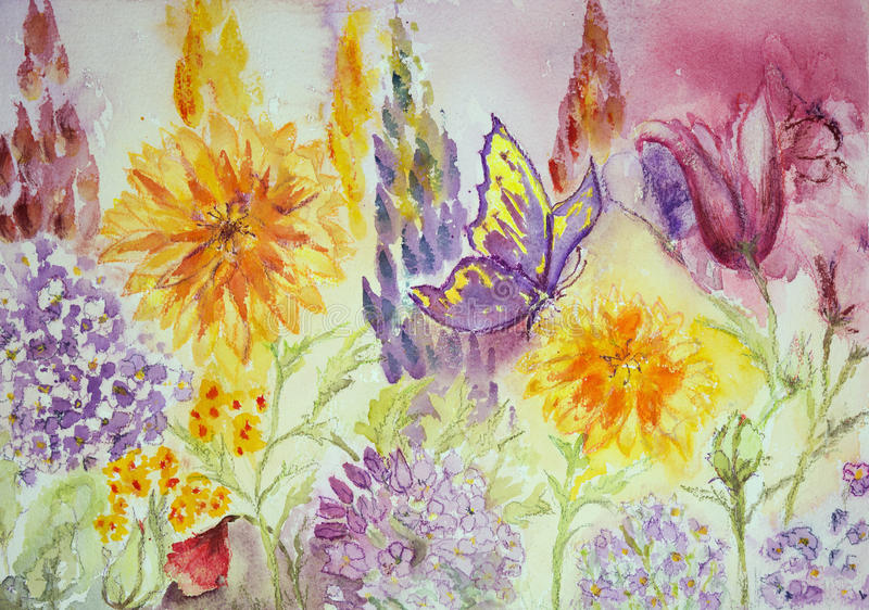 Faccia il giardinaggio con il tagete, il macrophylla dell'ortensia, il lupino ed i papaveri illustrazione di stock