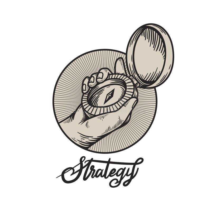 Faccia il giro di e un concetto della direzione di strategia del testo per orientamento e la direzione illustrazione di stock