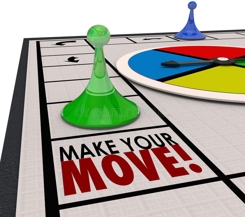 Faccia il vostro gioco da tavolo di movimento collegare il giro di andata di azione illustrazione di stock