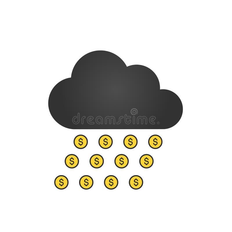 Faccia l'icona dei soldi Pioggia dei soldi Concetto di affari Estrazione mineraria della nuvola Progettazione piana Illustrazione royalty illustrazione gratis