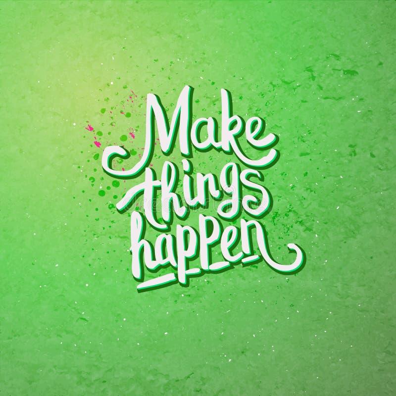 Faccia le cose accadere concetto su verde chiaro royalty illustrazione gratis