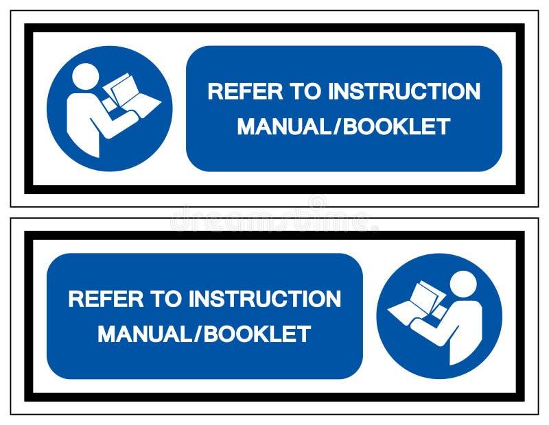 Faccia riferimento il segno di simbolo del libretto del manuale di istruzioni, illustrazione di vettore, isolata sull'etichetta b royalty illustrazione gratis