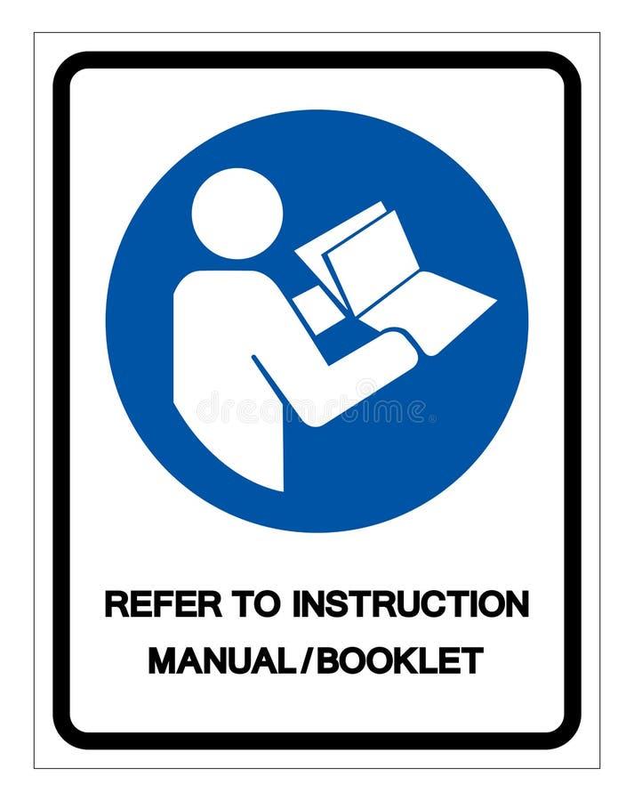 Faccia riferimento il segno di simbolo del libretto del manuale di istruzioni, illustrazione di vettore, isolata sull'etichetta b illustrazione di stock
