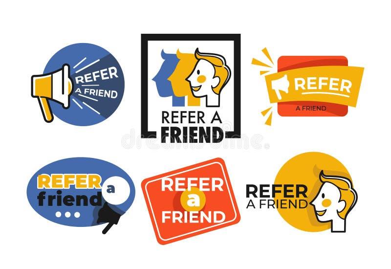 Faccia riferimento l'amico il bottone di web che ha isolato il megafono ed il fronte delle icone royalty illustrazione gratis