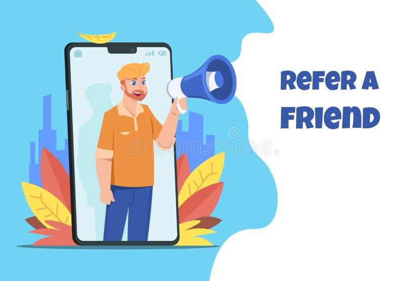 Faccia riferimento un amico Carattere con il megafono che divide per riferirsi dallo smartphone, concetto di annuncio Manifesto d illustrazione vettoriale