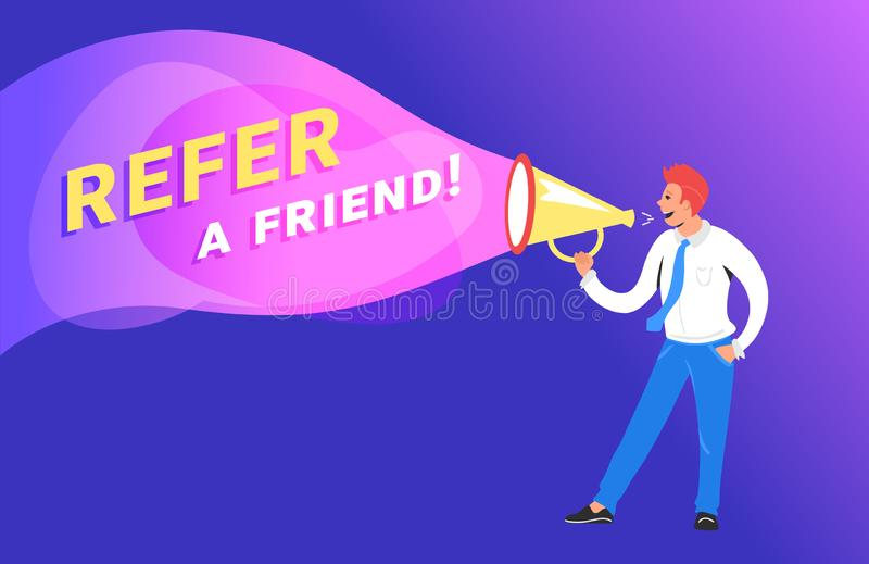 Faccia riferimento un'illustrazione di vettore di concetto dell'amico del responsabile felice che grida sul megafono per invitare illustrazione di stock