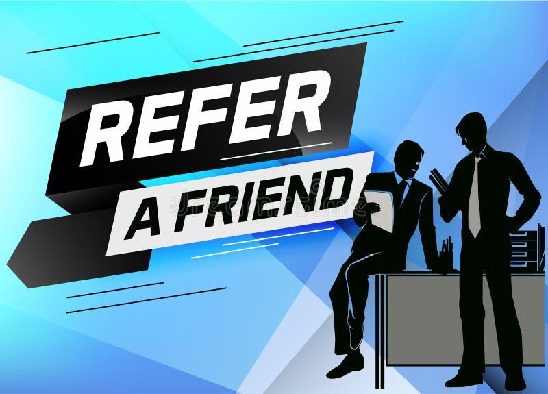 Faccia riferimento un'illustrazione di vettore di concetto di parola dell'amico con la conversazione della gente dell'uomo della  illustrazione di stock
