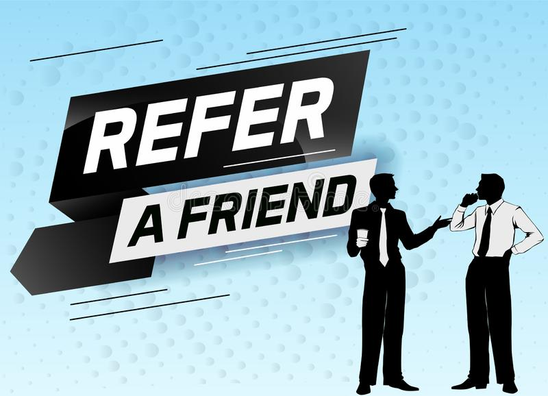 Faccia riferimento un'illustrazione di vettore di concetto di parola dell'amico con la conversazione della gente dell'uomo della  royalty illustrazione gratis