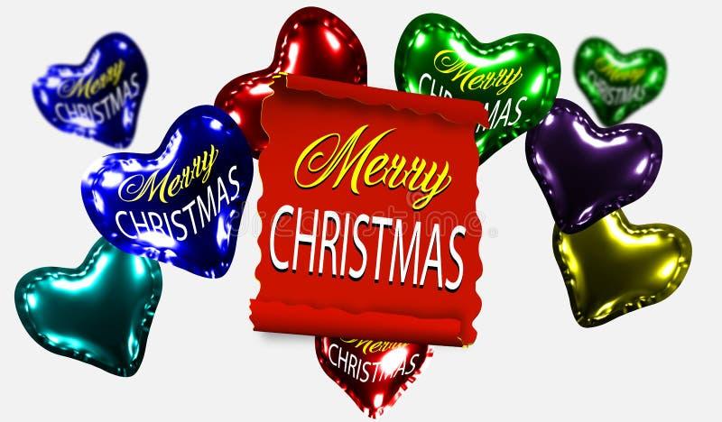Faccia scorrere il rosso, il Buon Natale, insegne di carta realistiche su un fondo delle palle lucide gonfiabili in una forma del illustrazione vettoriale