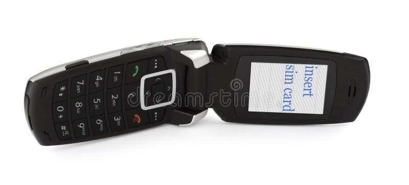 Faccia scorrere il telefono con la SCHEDA dell'INSERTO SIM fotografia stock