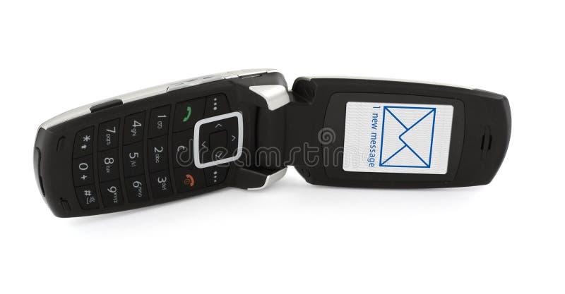 Faccia scorrere il telefono con SMS fotografie stock