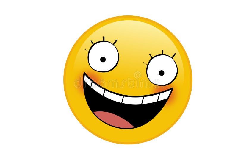 Faccia sorridente gialla di Emoji con occhi e bocca su bianco illustrazione di stock