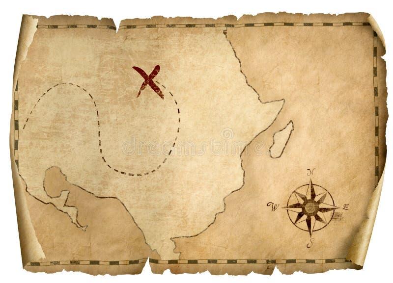 Faccia tesoro l'illustrazione isolata vecchia mappa 3d del ` dei pirati con la direzione leggera dalla destra immagini stock libere da diritti