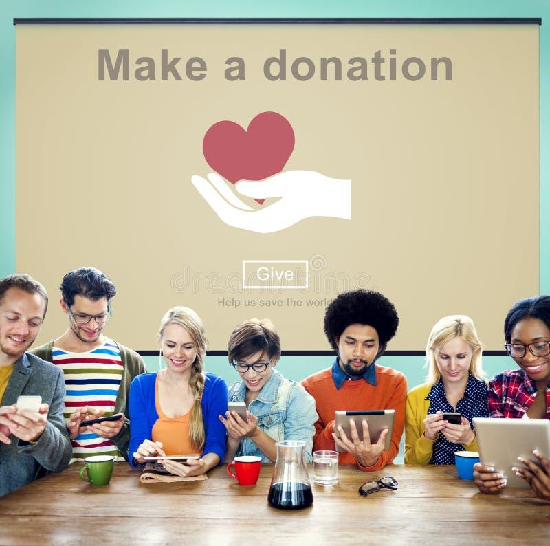 Faccia un concetto della carità delle mani amiche di donazione immagini stock