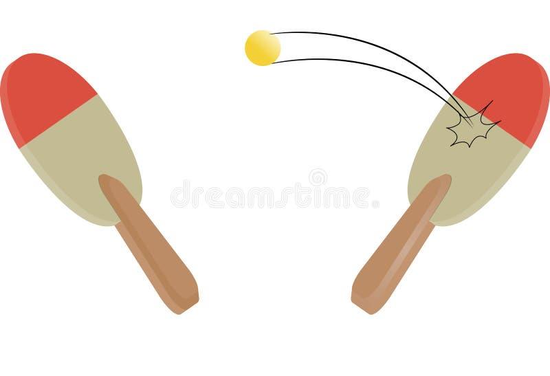 Faccia un rumore metallico l'azzurro di cielo della sfera del pong della pala e di rumore metallico di tennis di Pong immagine stock